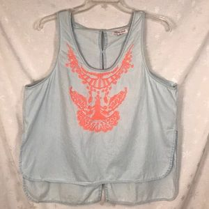 Extra Touch light blue embroidered tank - 2x
